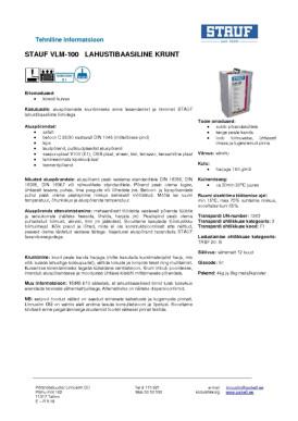 Tehniline info Stauf VLM-100