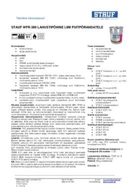 Tehniline info Stauf WFR-360